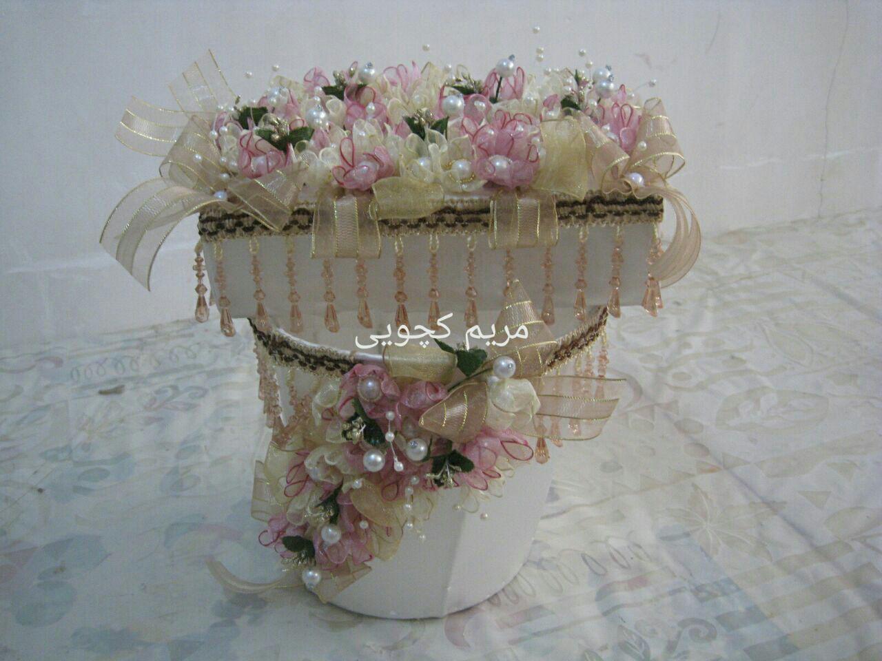 تزیین سطل و جعبه دستمال کاغذی با هنر زیبای روبان دوزی